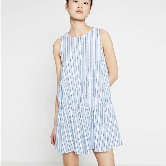 0df8beda171 NWT Zara Blue and White Striped Ruffle Hem Mini